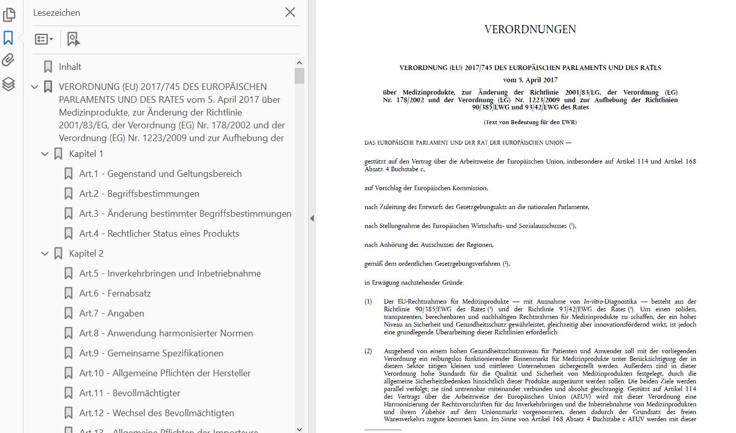 MDR und IVDR als pdf mit markierten Kapiteln (Lesezeichen)