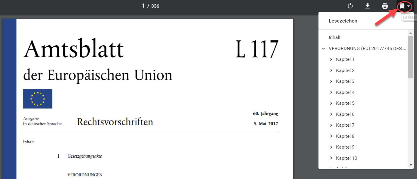 MDR und IVDR - Zugriff auf Lesezeichen im Browser